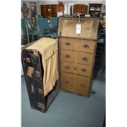 Antique Heartman metal wardrobe steamer trunk complete brass fittings, with four fitted interior dra