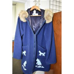 Inuvik Northwest Territories, Inuvik Parka Enterprise wool coat with appliqu' and fur hood with oute