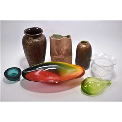 Selection of assorted glass, porcelain and pottery collectibles including center bowl with artist si