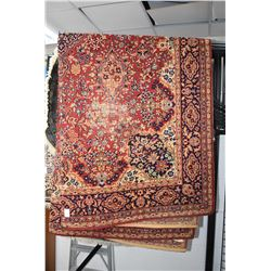 Large antique Axminster wool carpet with large center medallion, overall floral in shades of red, gr