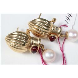 Ladies 14kt yellow gold earrings set with two round cultured pearls and two oval cabochon garnet gem