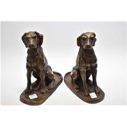 "Pair of mirror imagine dog bronzes, 9"" in height, no signature seen"