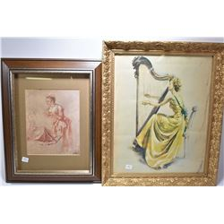 Pair of vintage prints including lady at her harp and a sanguine style drawing