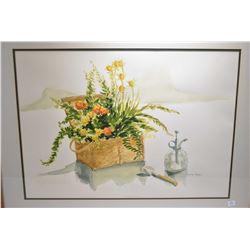 """Framed original watercolour floral still-life by artist Nancy Cowan, 20"""" X 28"""""""