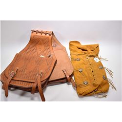Pair of unused hand tooled leather saddle bags and a suede leather satchel