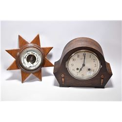 Oak cased mantle clock labelled Foreign and a small wall mount barometer