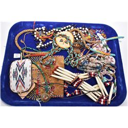 Selection of Indian beadwork including necklaces, satchels, hair clip etc.