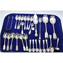 Selection of vintage sterling flatware including Birks coffee and teaspoons, pickle fork, small tong