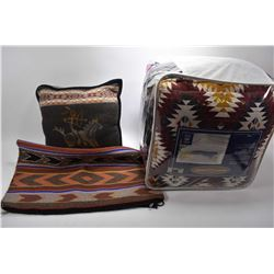 Selection of South-western style decor blankets, throw rug, pillows etc.