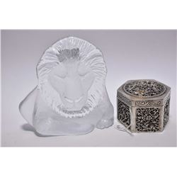 Matt Jonasson signed glass lion and a silver pierced and hinged box