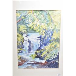 Framed original watercolour  Lower Shute Falls (near Naramata B.C) by artist Gunhild E. Morie (Gunny