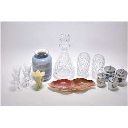 Selection of crystal and china collectibles including four Royal Worcester egg coddlers, Royal Winto