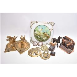Selection of horse motif collectibles and decor items including horse head motif bar ends, glass pan