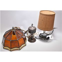 1950's cast bird table lamp with shade, leaded glass ceiling fixture and silver-plate challis