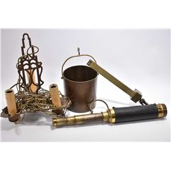 Selection of vintage collectibles including collapsible telescope, cast three branch ceiling fixture