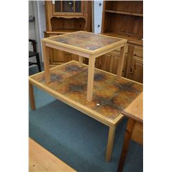 MId century modern tile top coffee table with matching end table