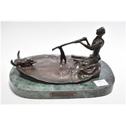 """Cast bronze on marble base statue of Russell's Peace pipe, 9"""" in length"""