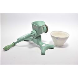 Vintage English made Harper meat grinder and a Wedgwood jelly mould