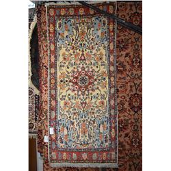 """Wool carpet runner with center medallion and overall floral pattern 32"""" X 72"""""""