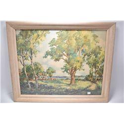 "Framed print titled on verso ""Green Valley"" by artist John Hare"
