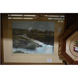 """Two vintage framed hand coloured photographs """"Horseshoe Canyon, Drumheller"""" one marked """"coloured by"""