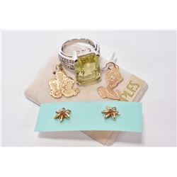 Selection of jewellery including Disney Couture 10kt gold Cinderella and Disney Princess charms, 14k