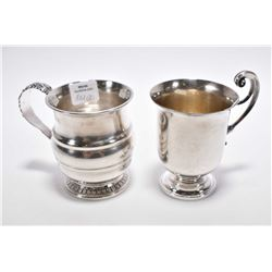 Two sterling silver cups, both with British sterling hallmarks