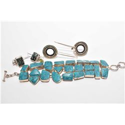 Selection of sterling silver jewellery including sterling and turquoise bracelet and two pairs of ea