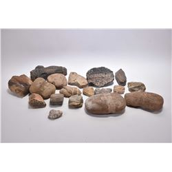 Selection of primitive tooling including axe head, petrified wood etc.
