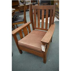 Antique quarter oak open arm parlour chair with original John Kay Company, Toronto label