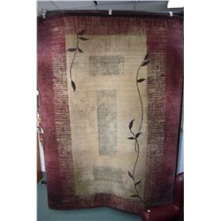 """Contemporary area carpet in taupe, sage and burgundy, 80"""" X 108"""""""