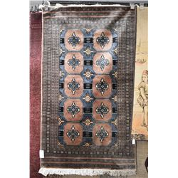 """Small quality as new throw rug with geometric tile pattern in shades of taupe and blues etc. 35"""" X 6"""