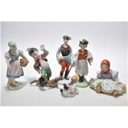Six piece of Herend Hvngary hand painted porcelain figurines