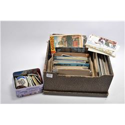 Large selection of vintage postcards, photo cards and a tin of assorted advertising pin back buttons