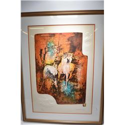 Framed limited edition print of abstract horses with embossed accent pencil signed by artist Hoi Leb