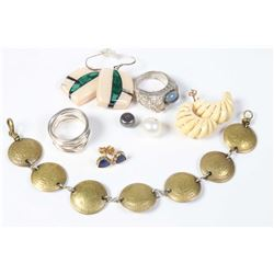 Tray lot of vintage jewellery including gold and ivory earrings, 14kt gold and lapis heart shaped ea