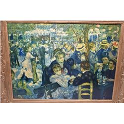 Two framed prints including shoreline and a Moulin de la Galette by Renoir