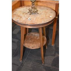 Two tier round occasional table, partially stripped