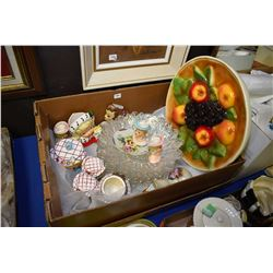 Selection of collectibles including vintage head vases, spooners, chalkware, glass plates etc.