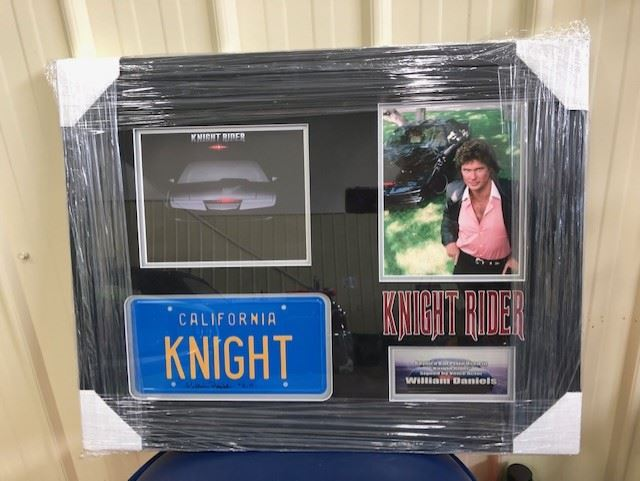 AUTOGRAPHED LICENSE PLATE OF KNIGHT RIDER SIGNED BY THE VOICE OF KITT,  WILLIAM DANIELS COA INCLUDED