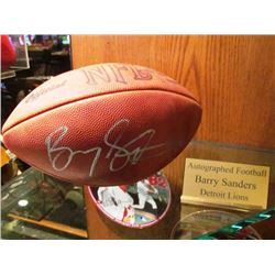 BARRY SANDERS NFL SIGNED FOOTBALL DETROIT LIONS
