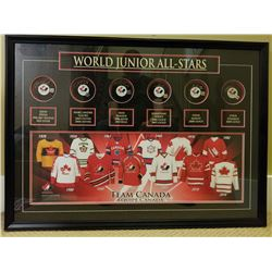 BEAUTIFULLY FRAMED COLLECTION OF SIX SIGNED HOCKEY PUCKS FROM CANADAS WORLD JUNIOR TEAM. COA INCLUDE
