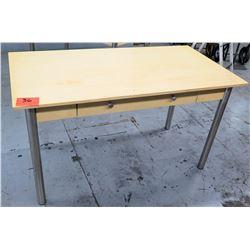 "Wood Desk with Metal Legs, 54""L x 28""W x 30""H"