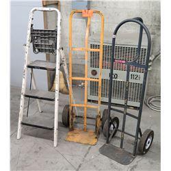 Qty 2 Handtrucks & One Step Ladder