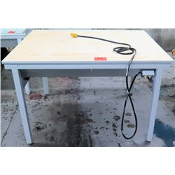 Wood Top Work Table with Metal Base