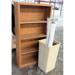 Wooden Shelving Unit w/ Track Light Bar & Rolled Paper