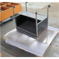 Rolling Wood Top Desk w/ Metal Base & Floor Mats