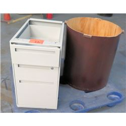 3-Drawer Under-Desk File Cabinet (no top) & Round Stand