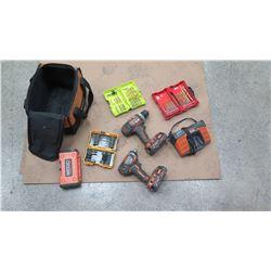 Qty 2 Ridgid Cordless Drills w/ Battery, Charger & Bits
