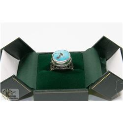 68) STERLING SILVER TURQUOISE RING